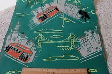 Rare Old Vintage Hand Blocked San Francisco Cable Car Wallpaper Roll c1930-50