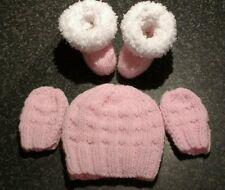 Cute Hand Knit Premature Baby girl pink Hat, Mittens & Snuggly Bootees