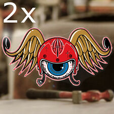2x pièce Flying tête casquée autocollant sticker autocollante old school hot rod 60mm