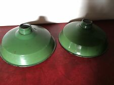 Pair Of Vintage Coolicon Enamel Green Lamp Shades