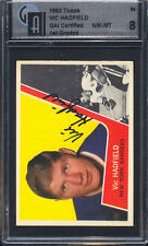 1963 Topps #54 Vic Hadfield Auto Autograph GAI 8 Authentic New York Rangers