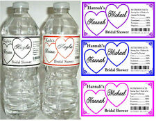30 HEARTS BRIDAL SHOWER WATER BOTTLE LABELS  Waterproof ink~ ANY COLOR