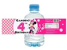 Minnie Mouse in Pink Water Bottle Labels - Birthday Favors - Set of 12