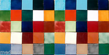 50 MEXICAN PLAIN COLOR TILES 4x4 HANDMADE WALL FLOOR USE POTTERY #003