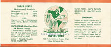 Label-SUPER FERTIL plant food,Agri Chemical Corp,New Orleans,LA.1980s=melaneybuy