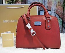 NWT MICHAEL KORS SAFFIANO SMALL Satchel Crossbody Bag In CHERRY Red $268