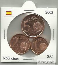// 1 + 2 + 5 centimos euro España 2003 SC . euro cents spain \