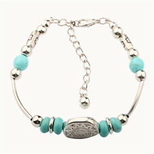 Women's Tibetan Silver Plated Gemstone Turquoise Beads Bracelet Charm Jewelry