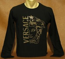 NEW With Tags MEN'S VERSACE Slim Fit Black Long Slv T-SHIRT Size L