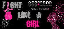 Breast Cancer Awareness 'FIGHT LIKE A GIRL' Pink Car Bumper Sticker Decal~|