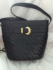 Vintage Italian Purse - RODO Black Glazed Wicker Leather Shoulder Handbag