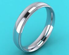 Platinum 950 MENS gents COURT shape WEDDING band , RING millgrain EDGE Rrp £795