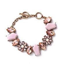 Brand Designer Gardenia Toggle Bracelet LAB Pink Jade + Sparkling Crystal Floral