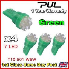 4 X 7 LED GREEN 501 T10 W5W SIDELIGHT / NUMBER PLATE / INTERIOR BULBS