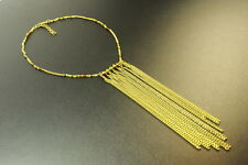 STUNNING GOLD TONE TRIBAL INSPIRED LADIES TWIST CHAIN BEADED NECKLACE (ZX3)