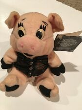 """Harley Davidson Bean Bag Plush """"Rachet"""" Pig With Leather Vest 1997 With Tag"""