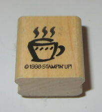 Coffee Cup Rubber Stamp Steaming Stampin' Up! Mini Retired Wood Mounted