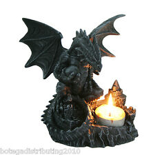 MYSTICAL DRAGON TEA LIGHT CANDLE HOLDER STATUE CASTLE