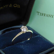 Tiffany & Co. Diamond Solitaire Engagement Ring Platinum Size 5 1/2 Box #A1096