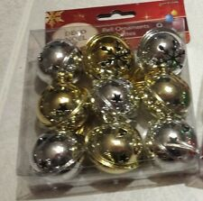 "Set of 9 JINGLE BELLS GOLD & SILVER 1 1/2""  ORNAMENTS WITH HANGERS LARGE SIZE"