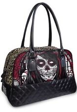 GOTHIC PUNK EMO ROCK PUNK ORACLE LEOPARD PRINT PADDED LEATHER BOWLING HANDBAG