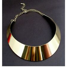 Women Gold Tone Curved Mirrored Metal Choker Collar Mottled Necklace