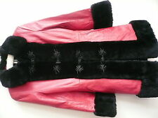 Vintage Red Leather Coat Fur Trim - Stunning