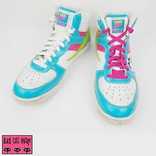 Fila Foggia White Pink Blue Green Hi Top Trainers UK 7