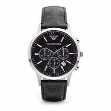 Emporio Armani Gent's Black Leather Strap Chronograph Designer Watch AR2447