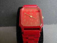 ELVIA ANCIENNE MONTRE BRACELET QUARTZ METAL ROUGE FEMME FILLE WOMAN WATCH 1980