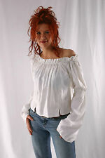 Caribbean Pirate Renaissance Wench Medieval Costume Girl White Blouse Top