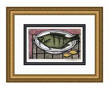 "BOGO Neat Bernard BUFFET 1967 Color Lithograph ""Plate of Fish"" Framed SIGNED COA"