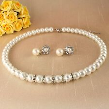 S1 Wedding Bridal Prom Silver Plated Pearl Crystal Choker Necklace Earrings Set