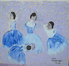 Russian  of naive artist Katya Medvedeva canvas    oil  2015   ballet