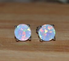 COLORATO 925 SILVER PLATED TROPICALE WHITE FIRE OPAL 7mm orecchini