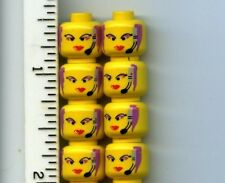 LEGO x 8 Yellow Minifig, Head Female with Red Lips, Purple Hair and Headset