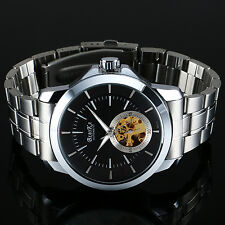 Mens Silver Dial Skeleton Automatic Mechanical Watch Stainless Steel Movement