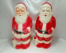 """Lot of 2 Vintage Union Products Blow Mold Lighted Santa Claus Christmas 13"""" USA"""