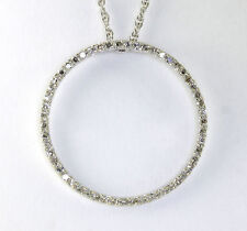 Diamond circle of life pendant necklace 14K white gold 52 round .65CT rope chain