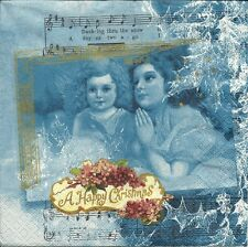 "3 Servietten Napkins Winter Weihnachten Engel Noten ""A Happy Christmas"" #162"