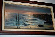 Violet Parkhurst Sunset Pier Oil Canvas Painting Framed