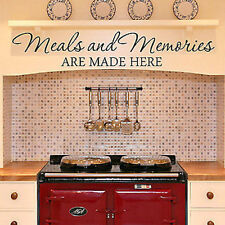 MEALS AND MEMORIES ARE MADE HERE Kitchen Diner Quote Vinyl Wall Decal Words