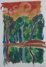 Trees & Sky Reflections in Water- Fauvist Painting-1969-August Mosca