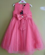 Girls Bridesmaid Wedding Sparkly Bow Tulle Party Dress 9 - 10 Years BNWT Coral