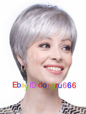 Short Silver Gray Hair Wigs Heat-Resistant Fiber Fashion Woman's Wig