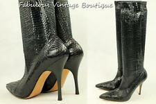 New MANOLO BLAHNIK Stretch Exotic Snake Python Leather Shoes High Heel BOOTS 41