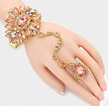 Peach Champagne Gold Hand Chain Ring Crystal Rhinestone Pageant Wedding Bracelet