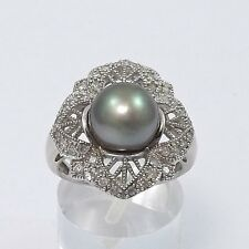 ART DECO STYLE 14K WHITE GOLD 9mm TAHITIAN PEARL DIAMOND FILIGREE RING  Sz 7