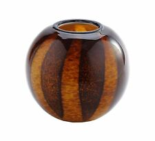 "New 8"" Hand Blown Glass Art Vase Bowl Brown Amber Striped Decorative"