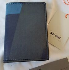 Jack Spade Vertical Bi-fold Leather Wallet New with tags $128 Blue Black
